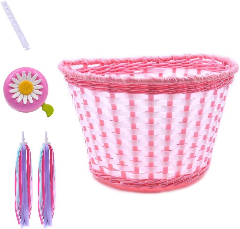 ANZOME Girl's Bike Basket, Front Handlebar Kid's Bicycle Basket with Bike Bells Streamers for Kids Chirlden Gift DIY Sets - Rose red …