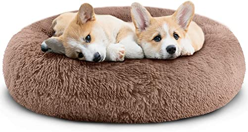 Small Dog Cat Bed – Comfortable Donut Calming Dog Bed, Ultra Soft Washable Dog Bed for Small Dogs 23 X23