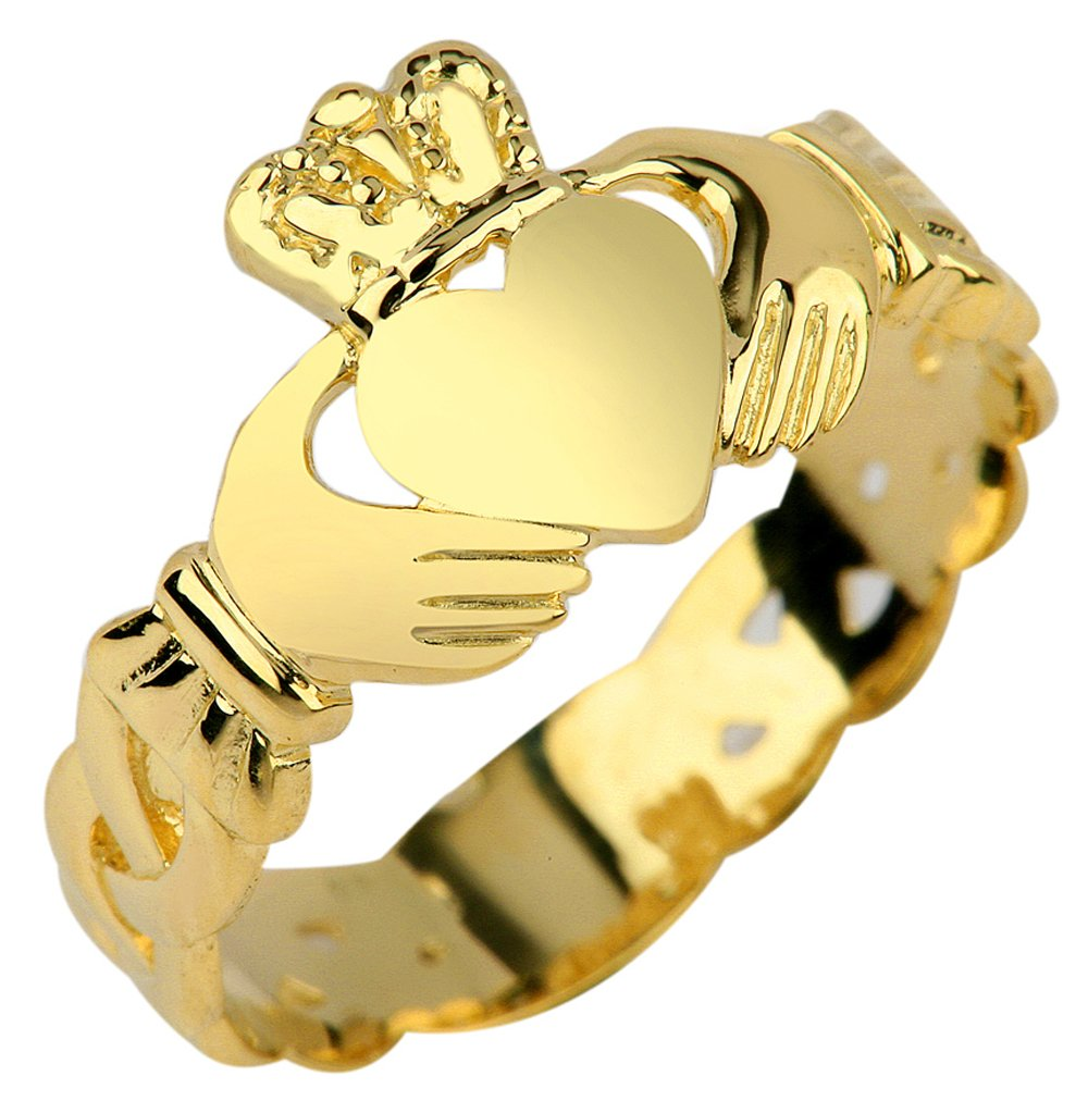 Ladies 14k Gold Claddagh Ring with Trinity Band (7.25)