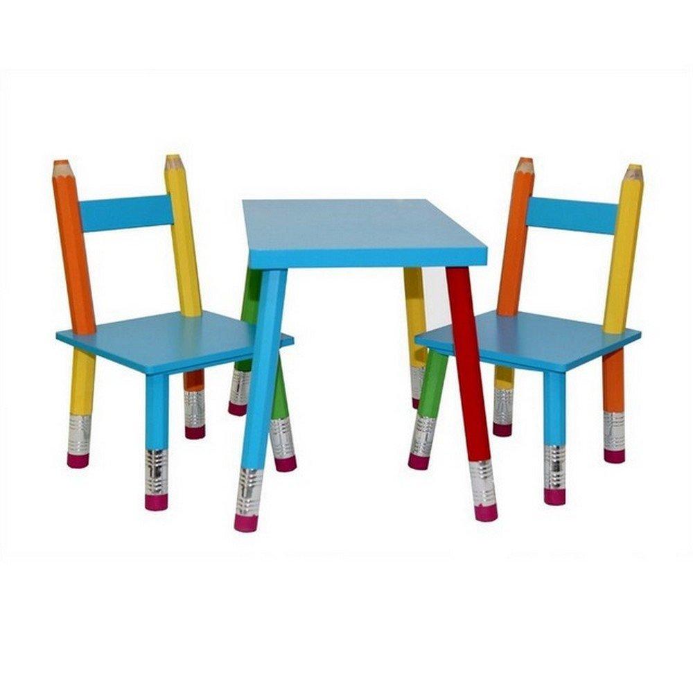 Kindertischgruppe Buntstift Tisch und 2 Stühle Kindermöbel Kinderstuhl NEU OVP HTI-Line