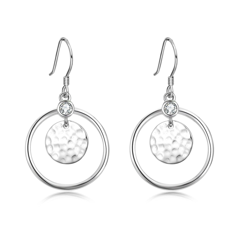 Hoop Drop Earrings Sterling Silver Hammered Wafer Hoop Dangle Earrings Jewelry for Women Girls