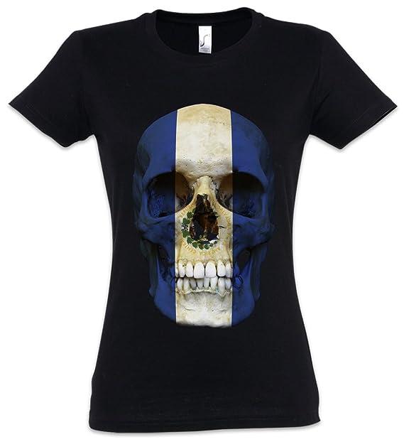 Classic EL Salvador Skull Flag Mujer Girlie Women T-Shirt - Bandera Cráneo Schädel Banner