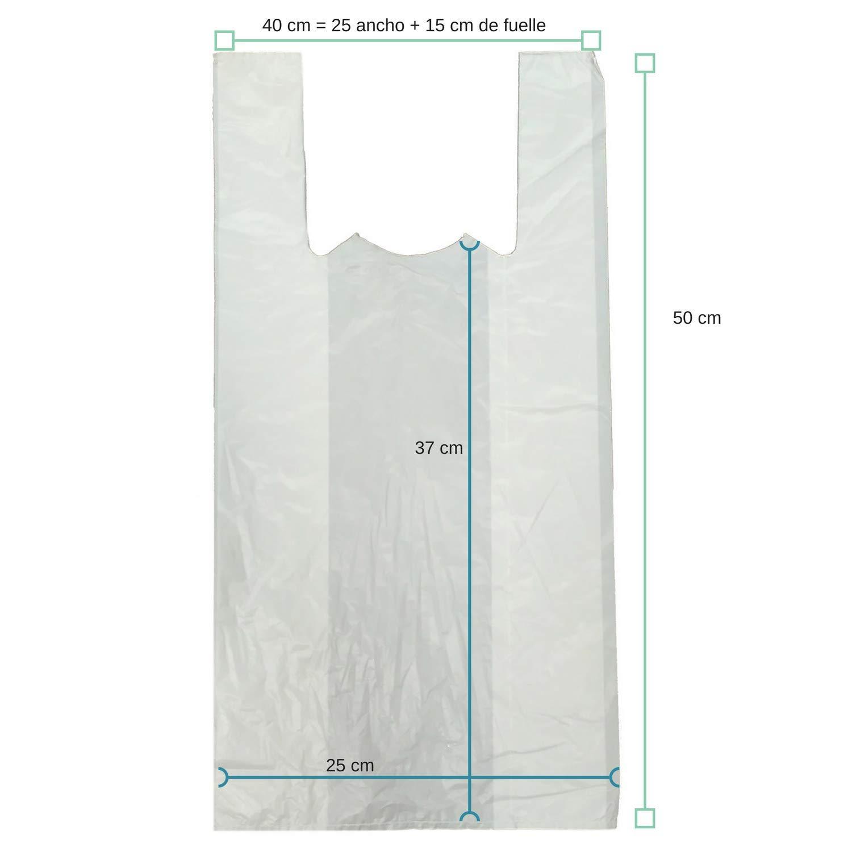 PAMPOLS Bolsas Camiseta LDPE 40X50 G-150 Blanca (Pack de 100 ...