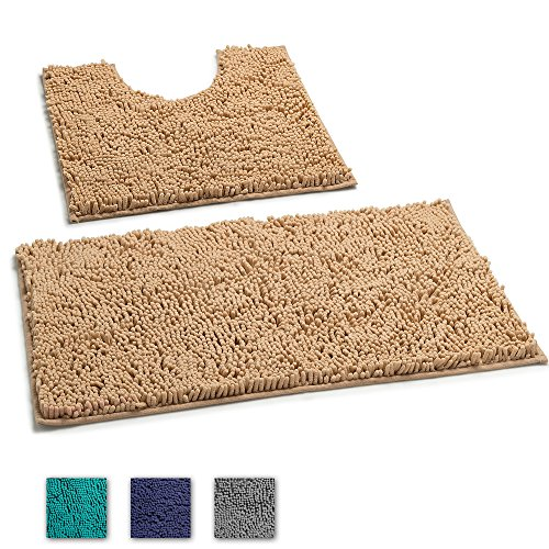 LuxUrux 2 Piece Bath Mat Set –Extra-Soft Plush Non-Slip Bath Shower Bathroom Rug + U-Shaped Toilet Mat. 1'' Microfiber Material, TPR Surface, Super Absorbent. Machine Wash & Dry (BEIGE)