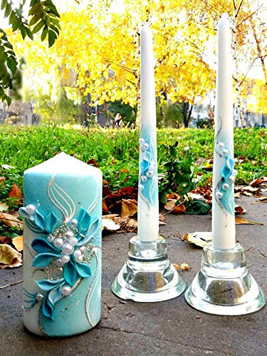 Magik Life Unity candle set for wedding - Wedding décor &  Wedding accessories - Candle sets - 6 Inch Pillar and 2 10 Inch Tapers -  Best Unity candle (Taper Candle Unity)