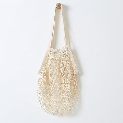 NOVEDAD: bolsas de red de algodón Metyou. Bolsa para uso como bolsa de la compra, almacenamiento de fruta u organizador de bolsas beige