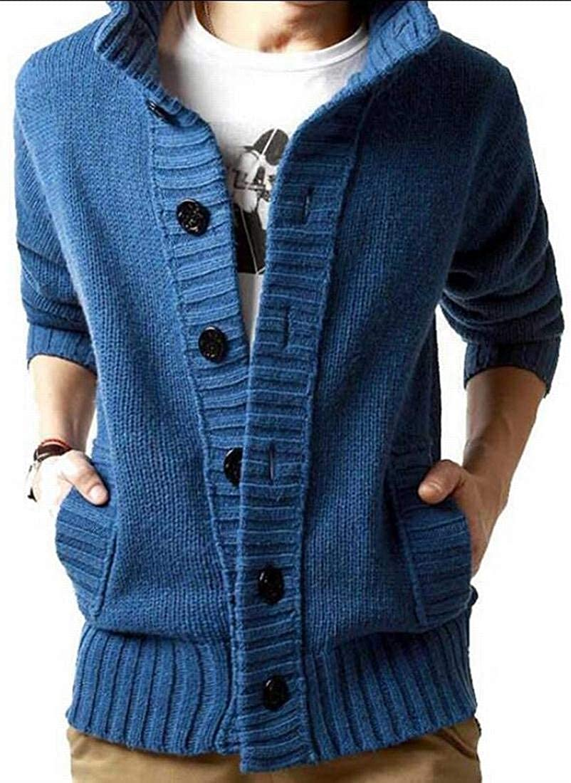 Alion Mens Button Up Stand Collar Knit Slim Cardigan Stylish Sweater