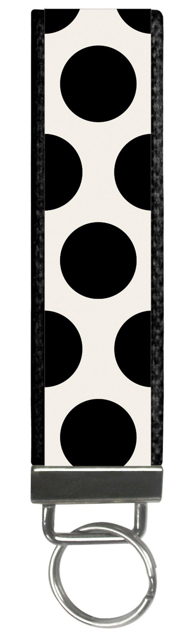 Trendy Polka Dot Black Design Wristlet Keyfob Keychain One Size