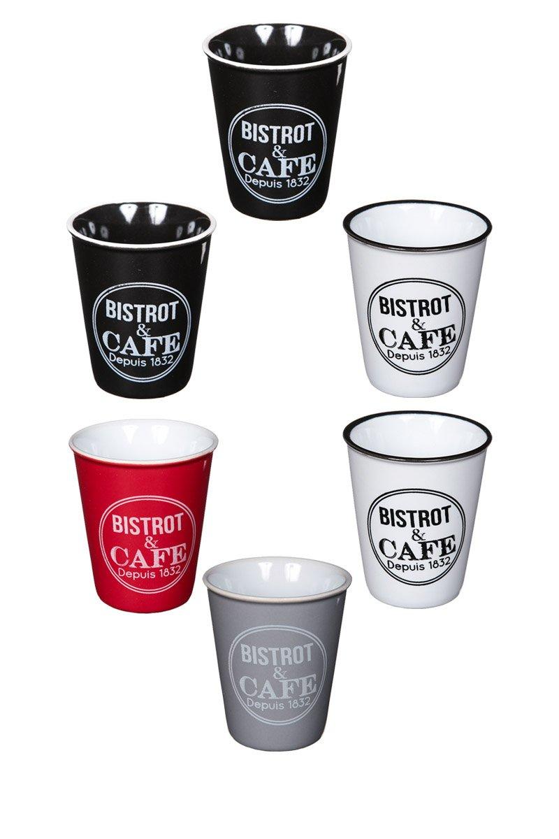 Bistro Design Demitasse Coffee Cup Set, Ceramic Espresso Shot Cup, Set of 6 Lime