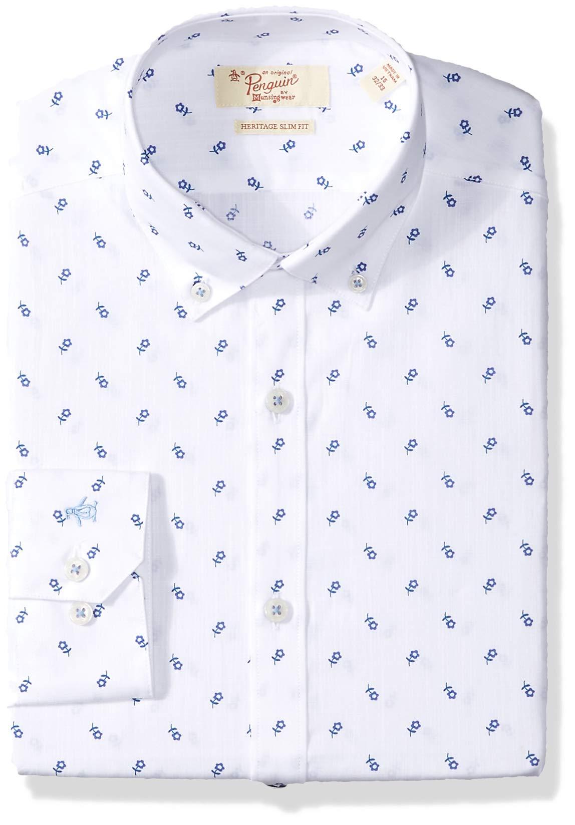 Original Penguin Men's Slim Fit Button Down Collar Dress Shirt, White Flower Print, 16.5 34/35