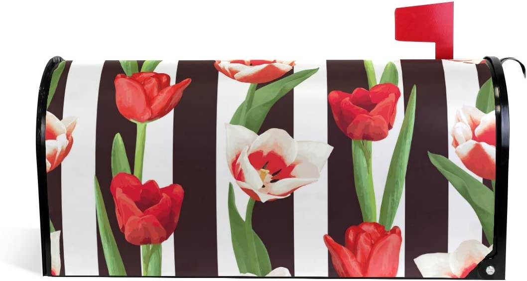 WOOR Red and White Tulips Magnetic Mailbox Cover MailWraps Garden Yard Home Decor for Outside Standard Size-18x 20.8