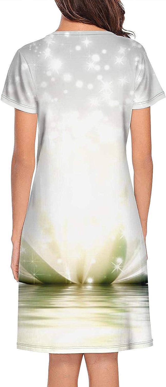 HSJOTT Womens Lady Bugs Nightgown Short Sleeve Sleepshirts Dress