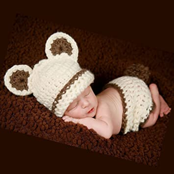 742bbb30b Cute Baby Infant Photography Prop Bear Costume Cute Crochet Knitted ...
