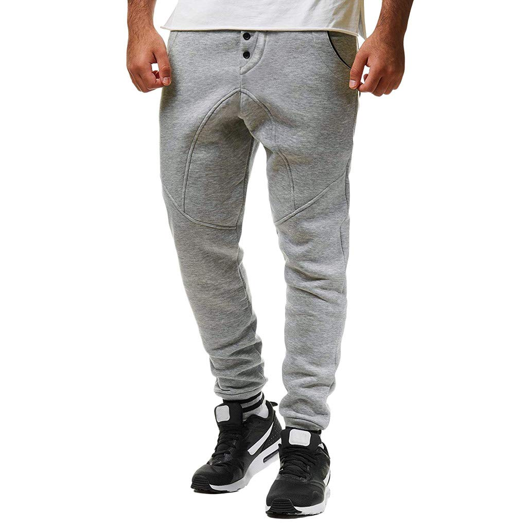WENSY Fashion Mens Elastic Belt Elastic Elastic Band Rope Pants Elastic Foot Button Casual Sports Pants Trousers