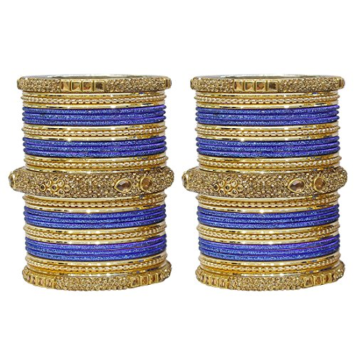 MUCH-MORE Marvelous 18 Pieces of Multicolor Bangles Set with Dashing Kade Traditional Indian Partywear Jewelry for Women & Girls (Blue, 2.8) ()