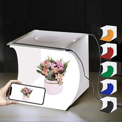 PULUZ - Caja de luz portátil de 20 cm x 20 cm x 20 cm, para fotografía, estudio fotográfico, tienda, mesa plegable, mini kit de iluminación LED con luces LED integradas y