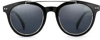 ZENOTTIC Vintage Round Sunglasses for Men Women Retro Double Bridge Polarized Sun Glasses UV400