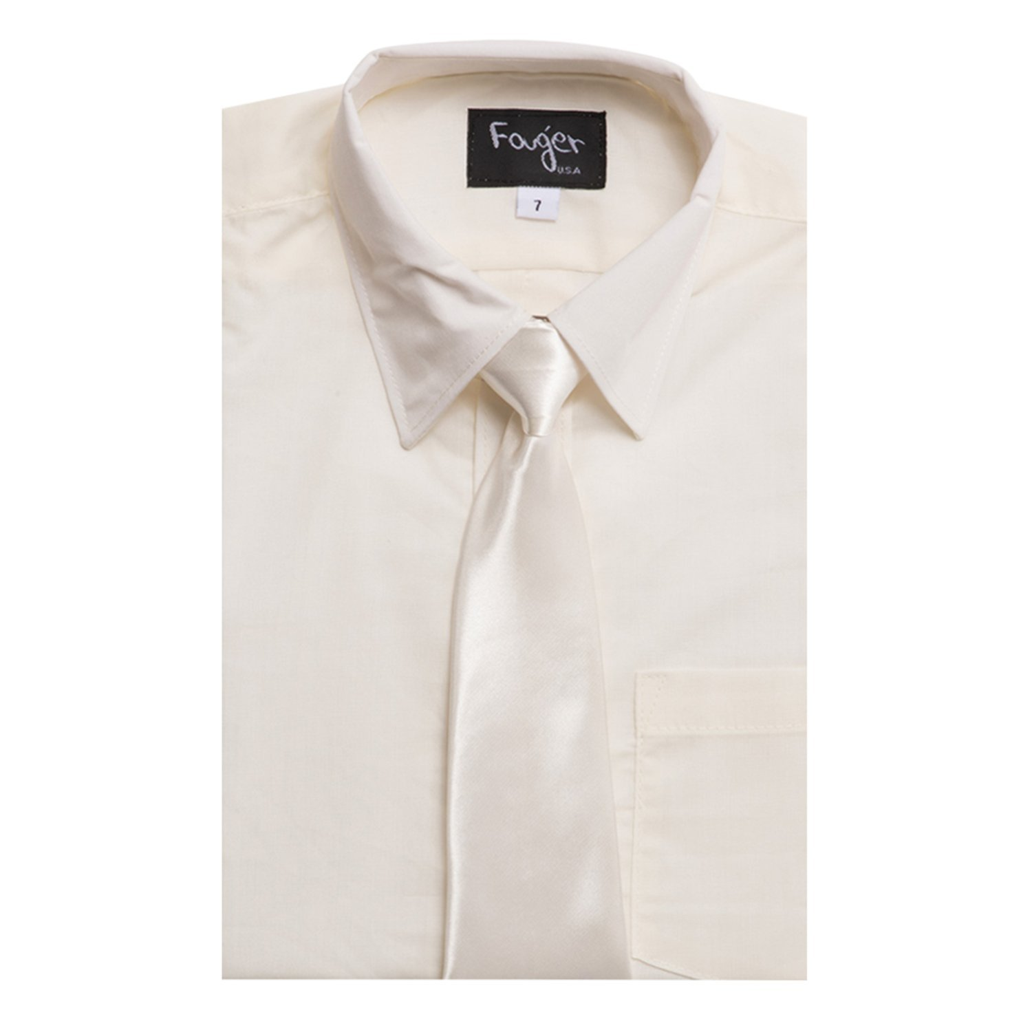 Fouger Boys Solid Long Sleeve Dress Shirt with Solid Tie - Ivory/10