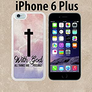 God Cross Religious Quote Custom made Case/Cover/skin FOR iPhone 6 Plus - White - Rubber Case ( Ship From CA)