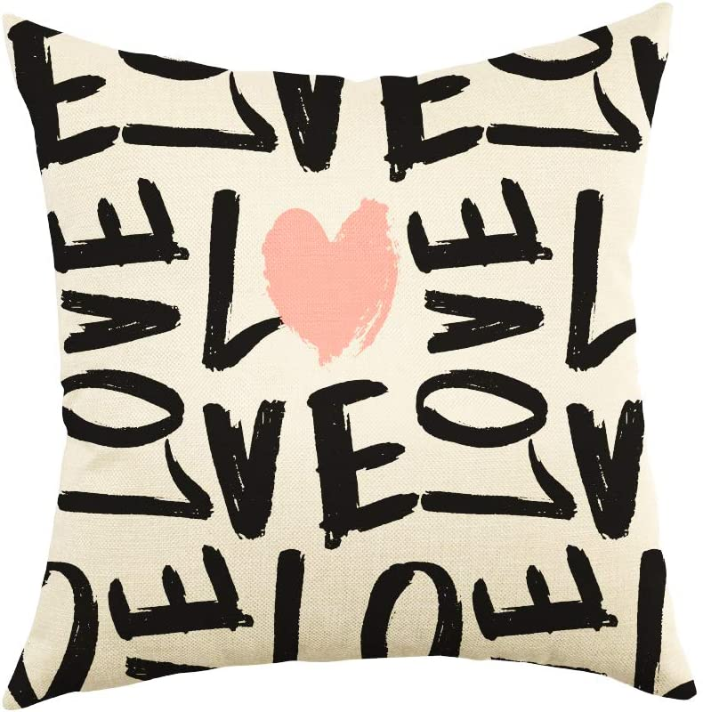 Ogiselestyle Love Pattern Cotton Linen Throw Pillow Cover Home Decorative Pillow Case Cushion Cover for Sofa Couch Home Decor Lover Gifts 18x18 inch