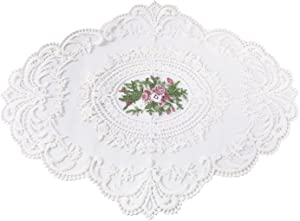 Tinsow Lace Table Runner Crochet Cotton Table mats Lace Doilies Doily (White, 1)