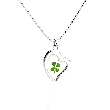 Amazon lucky charm four leaf clover pendant necklace irish lucky charm four leaf clover pendant necklace irish leaf clover jewelry mozeypictures Image collections