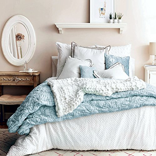 Textured Quilted Soft Washed Cotton Artisan Bedding Set Stitched Puckered Floral Full Queen Duvet Quilt Cover Scandi Chic Ruched Embroidered Flower (Aqua (Embroidered Duvet)