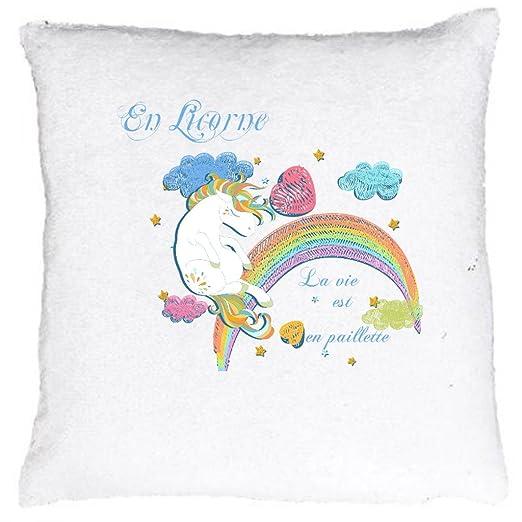Cojín o funda de cojín Sequin, en unicornio la vie est en ...