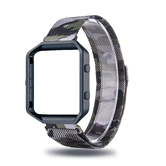 Amazon.com: For Fitbit Blaze Bands Large Camo Green,CIDETTY Milanese ...