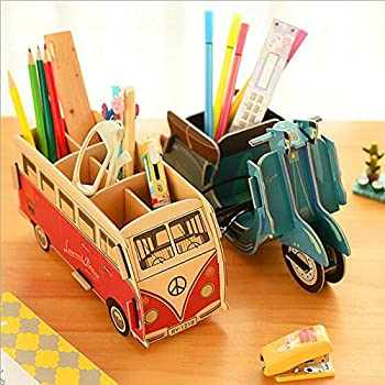 Elegant GMissT Cute Cartoon DIY Pen/Pencil Holder,Office Desk Stationery Organizer  Storage Box Bus