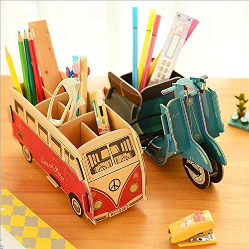 decorative office supplies organizer box gmisst cute cartoon diy penpencil holderoffice desk stationery organizer storage box bus pattern decorative office supplies amazoncom