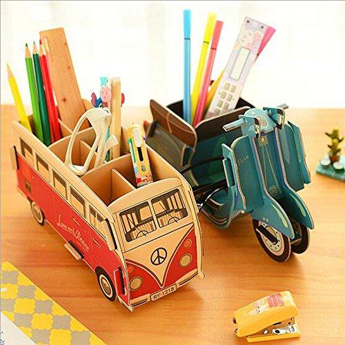 GMissT Cute Cartoon DIY Pen/Pencil Holder,Office Desk Stationery Organizer Storage Box Bus Pattern