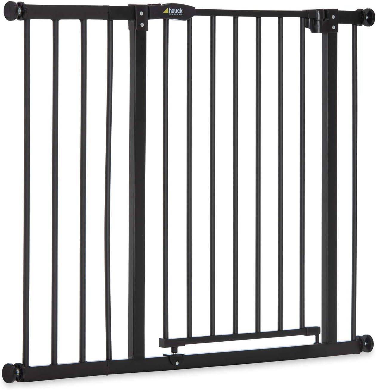 Hauck Close N Stop - Puerta de seguridad con extensión de 21 cm, para puertas y escaleras 96 – 101 cm, sin agujeros, combinable con Y-Spindel para barandillas, hierro, charcoal (gris)