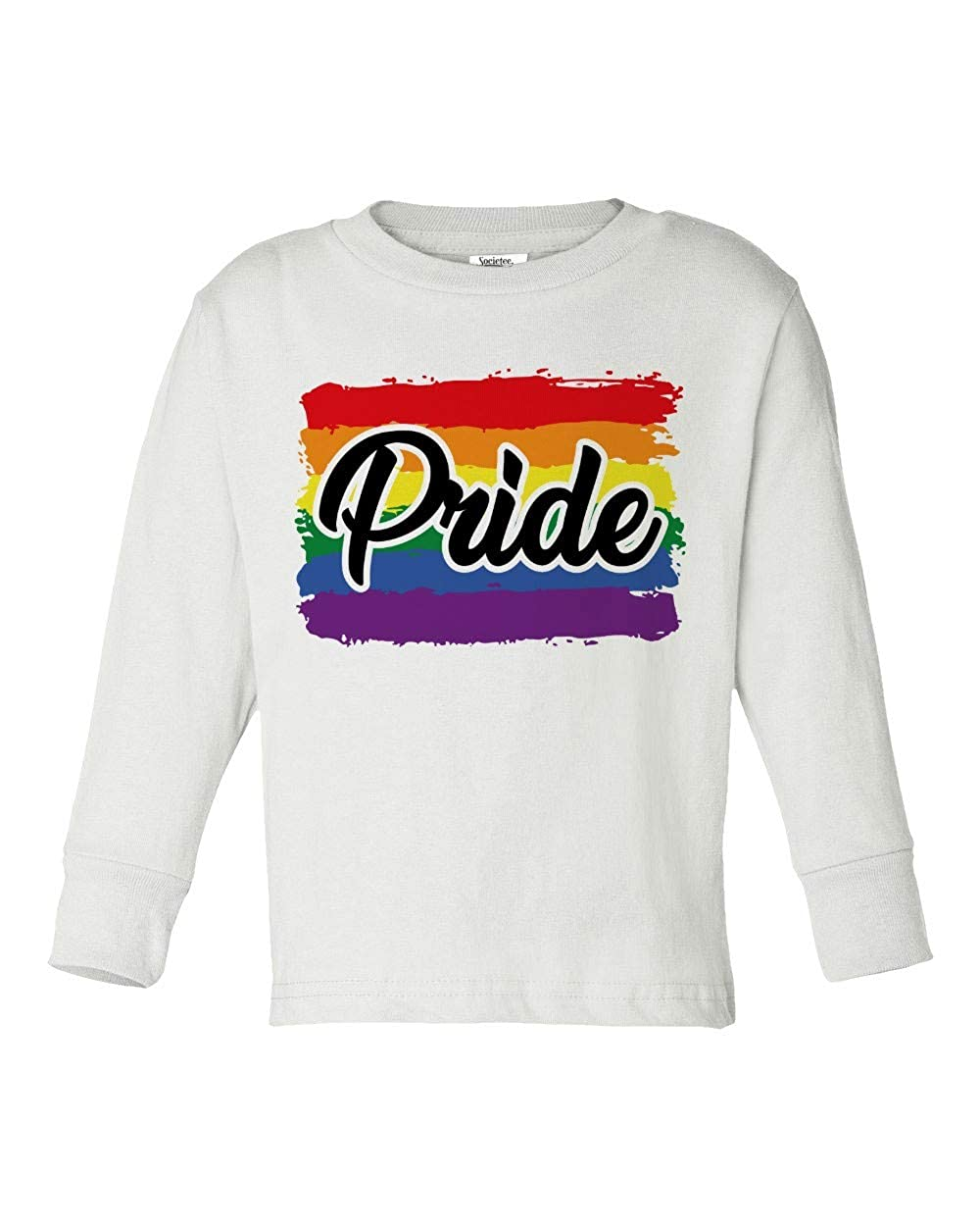 Societee Rainbow Gay Pride Cute Girls Boys Toddler Long Sleeve T-Shirt