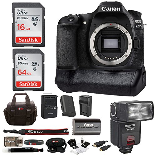 Canon EOS 80D Digital Camera: 24 Megapixel 1080p HD Video DSLR Bundle with 80GB Memory Battery Grip TTL Camera Flash and Battery with Travel Charger - Professional Vlogging Sports & Action Cameras -  ACAN80DBOD2