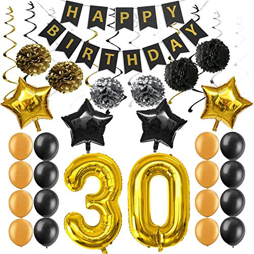 30th Birthday Party Decorations Kit Supplies, Happy Birthday Banner Sparkling Celebration Hanging Swirls Poms Star Foil Balloons for 30th Birthday Party Supplies Photo Props
