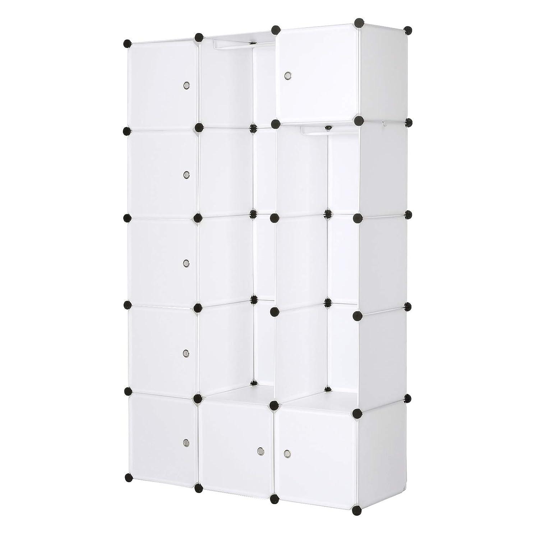 Livres,Chaussures,10 Cubes Blanc Accessoires Jouets WOLTU SR0101ws DIY Armoire Plastique Chambre Faite de modules avec 2 Tringle /à v/êtements pour Le Stockage de v/êtements