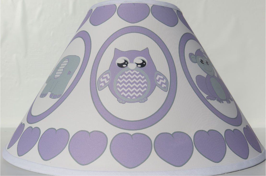 Purple Baby Safari Lamp Shade with Elephants, Owl, Zebra, Giraffe, Hippo, Lion and Monkey Nursery Decor