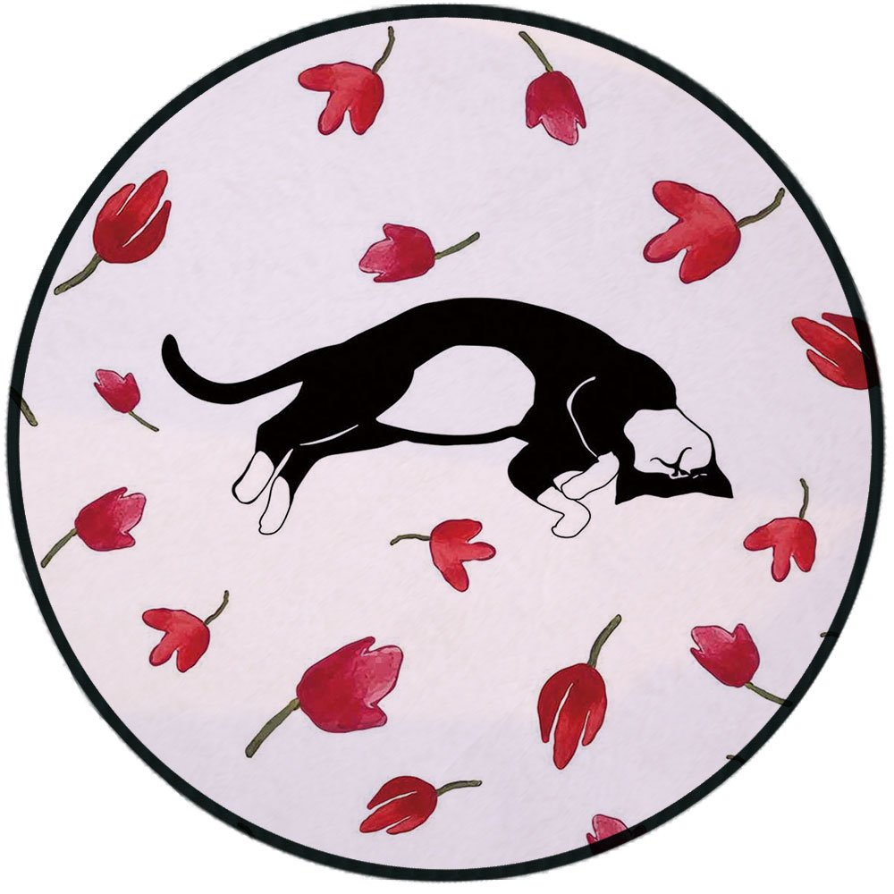 Printing Round Rug,Modern,Cute Kitty Sleeping Surrounded by Tulips Cat Animal Pet Lovely Creature Print Mat Non-Slip Soft Entrance Mat Door Floor Rug Area Rug For Chair Living Room,Black White Pink