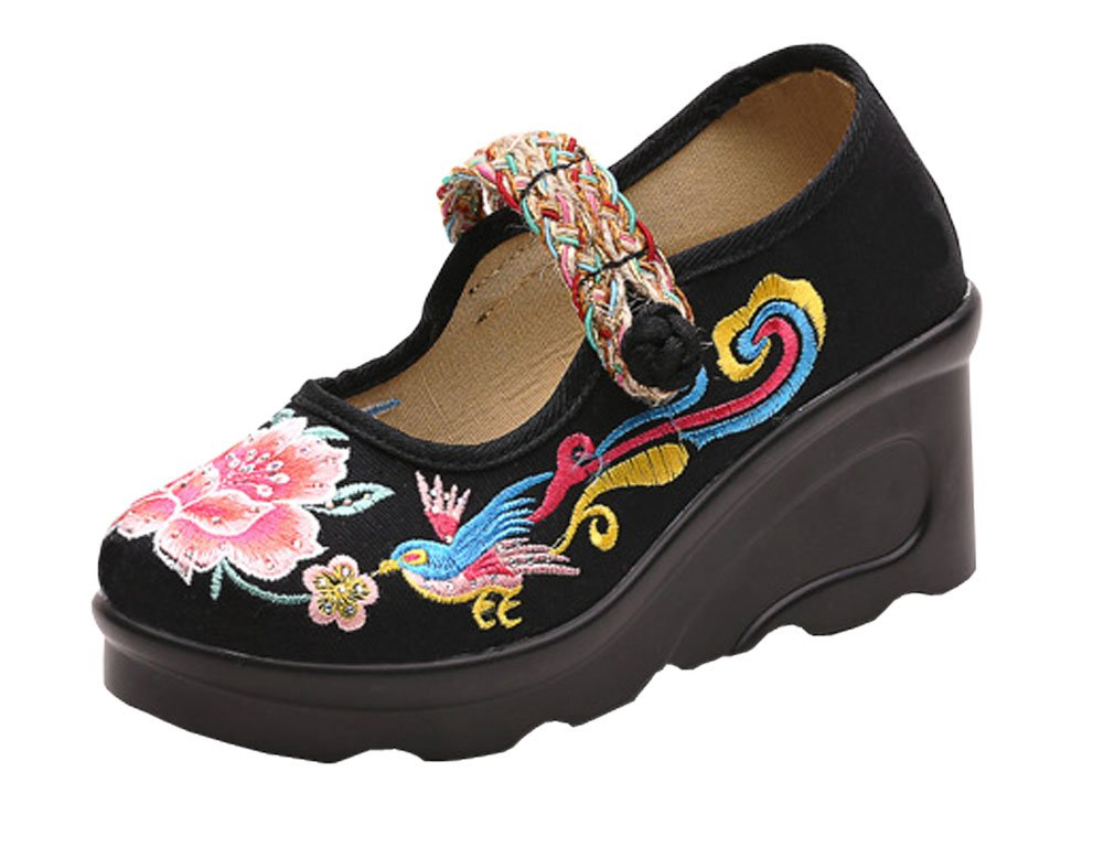 AvaCostume Embroidery Platform Wedge Heel Mary Jane Sandal B07568MXGJ 36 M EU|Black