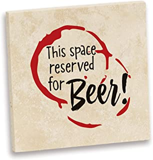 product image for Imagine Design Relatively Funny This Space Reserved, Travertine Coaster, Red/Black/White