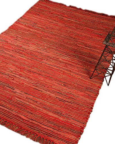 Natural Area Rugs 100% Natural Fiber Handmade Reversible Concepts Jute Rectangular Rug (8' X 10') Red - Concepts Striped Rug