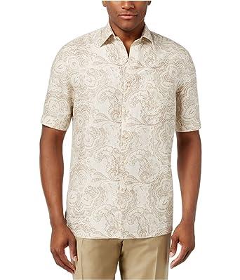 8d66bde8ea7 Tasso Elba Mens Paisley Button Up Shirt Brown L at Amazon Men s ...