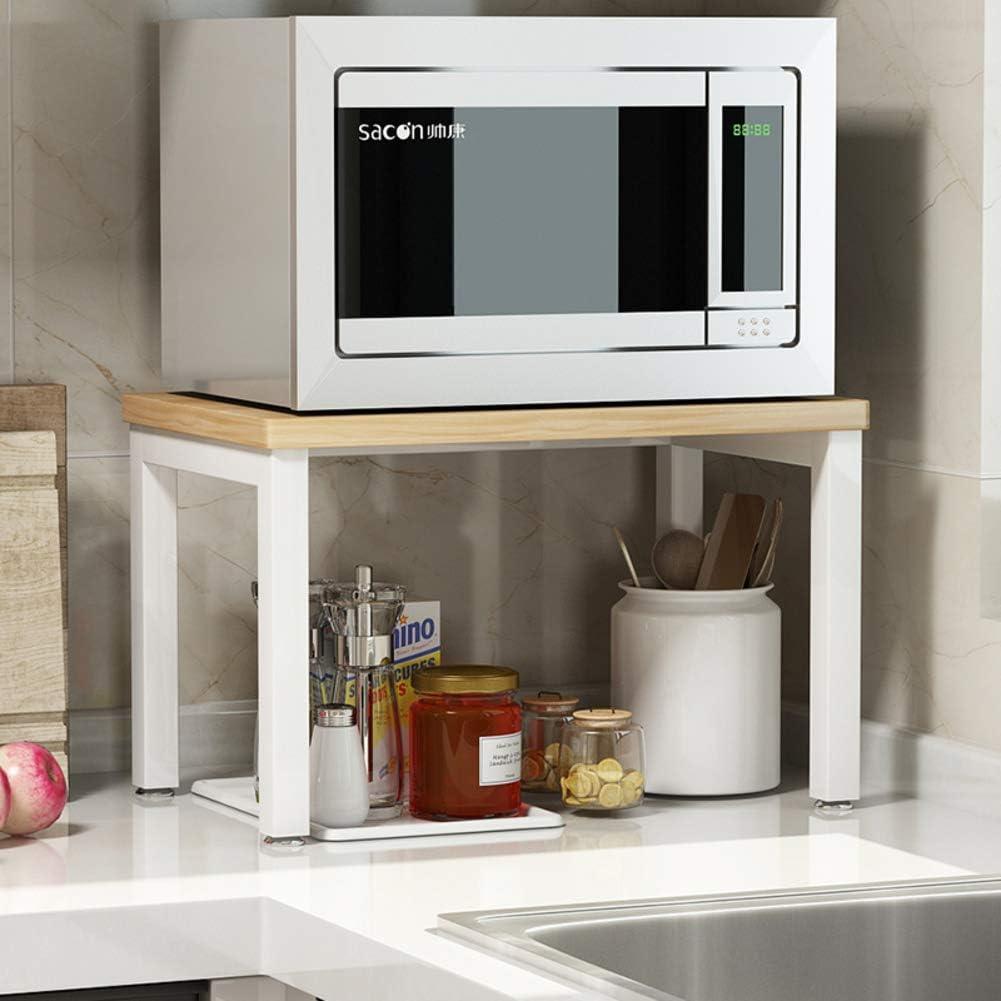 ZXCC Sencillo Cocina Estantería Microondas Encimera, Acero Almacenamiento Madera Estantes Utilidad Soportes Organizador Multiuso Especia Contador Gabinete Metálico Marco-m-Blanco 2-Niveles