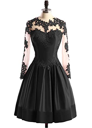 DYS Womens Short Lace Prom Dresses Sleeves Appliques Beaded Homecoming Dress Black ...