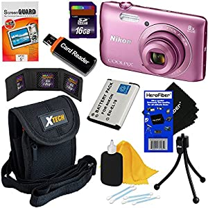 Nikon COOLPIX A300 20.1MP Digital Camera with 8x Zoom Lens & Built-in Wi-Fi (Pink) - International Version (No Warranty) + EN-EL19 Battery + 8pc 16GB Accessory Kit w/HeroFiber Gentle Cleaning Cloth