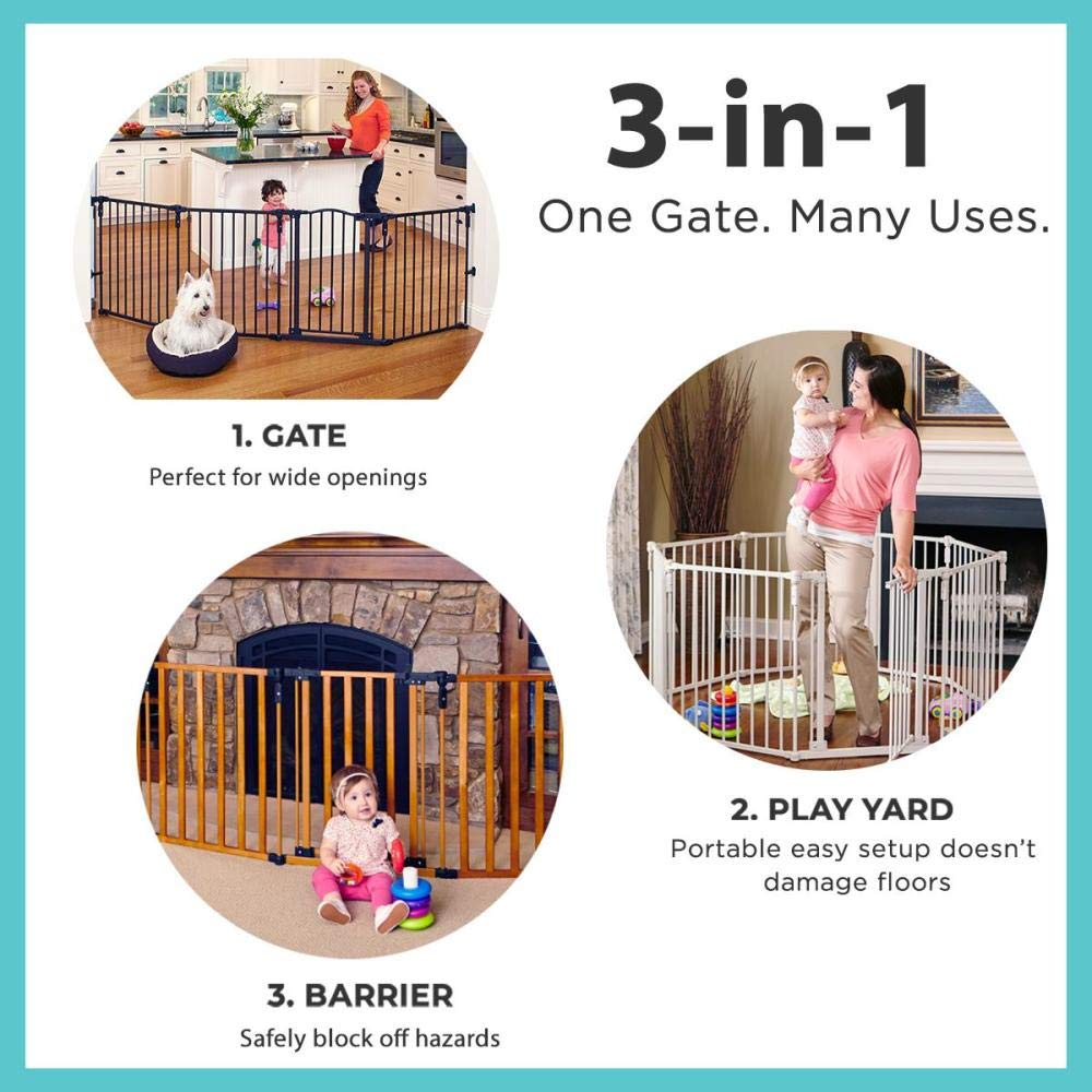 6. The North States Superyard 3 In 1 Arched Decor Metal: Best long extra-wide baby gate for play area