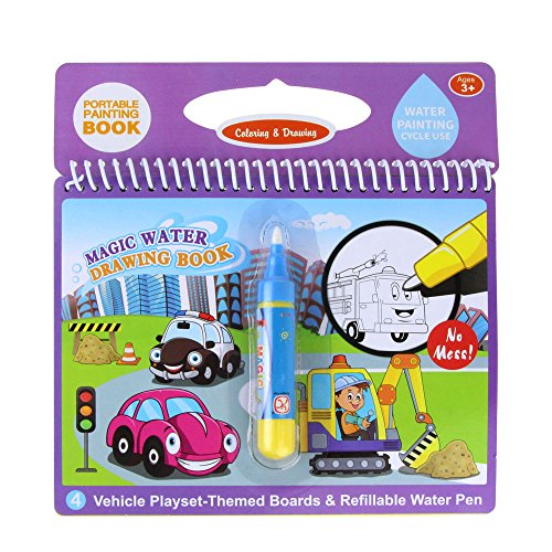 Jenilily Magic Water Drawing Book Coloring Book Doodle with Magic Pen Painting Board for Children Education Drawing Toy (A Vehicle)