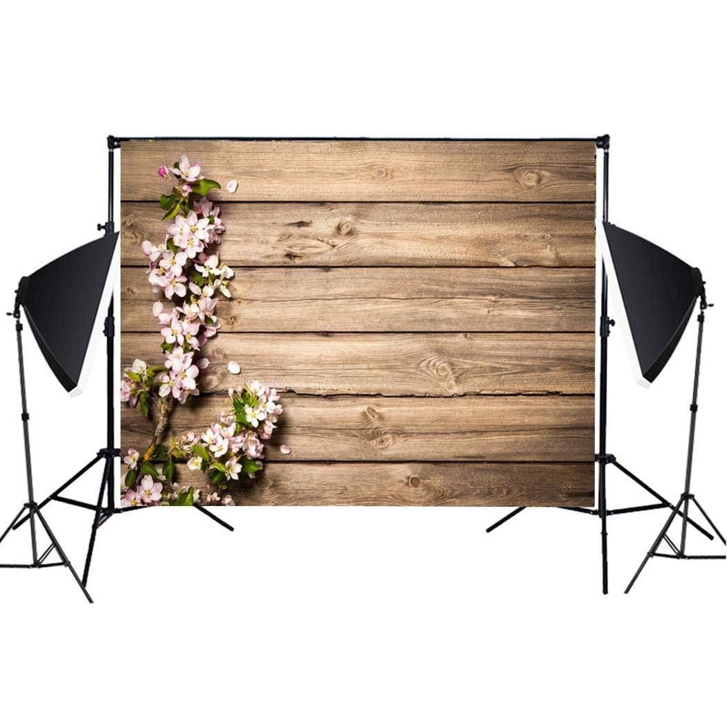 LEANO Imitation Wood Grain Photography Props 3D Photo Background Cloth Presentation Pointers for Wedding Holiday Birthday Party, 49'' x 31''