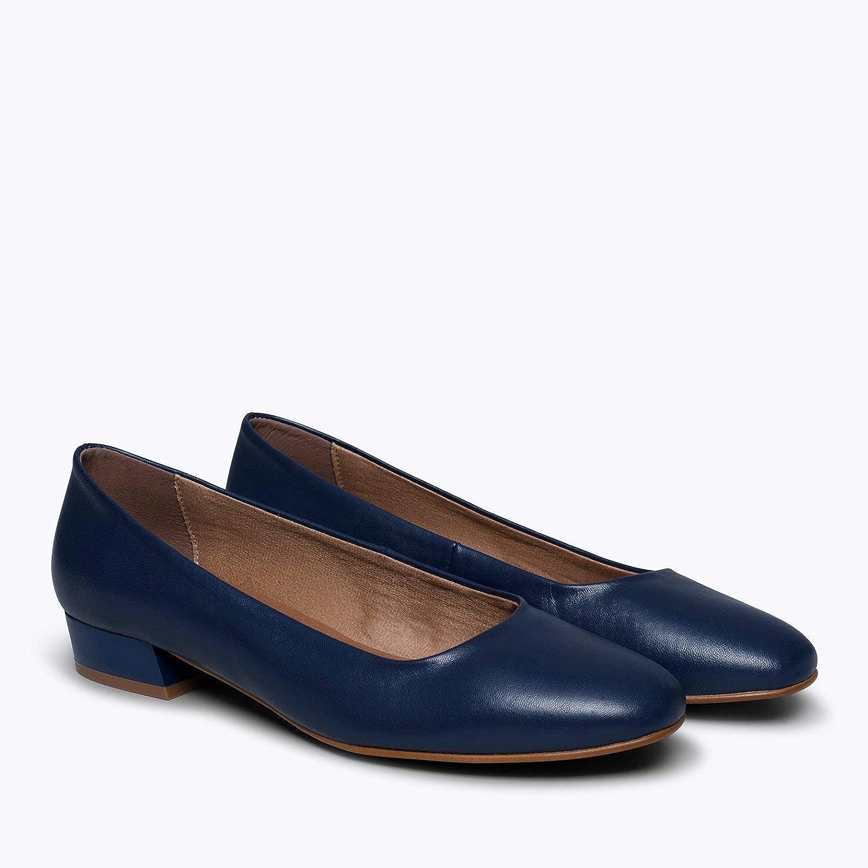 Zapato Mujer Tac/ón Bajo Zapatos de Piel Fabricados en Espa/ña Manoletina C/ómoda con Plantilla Gota Ultra Confort GE Zapatos miMaO Urban XS